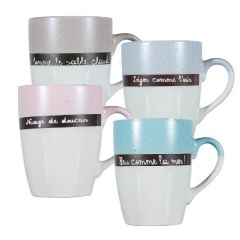 Lot de 4 mugs à message