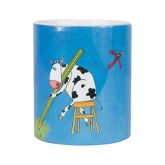 Mug bleu avec anse décor vache