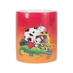 Mug rouge avec anse décor vache