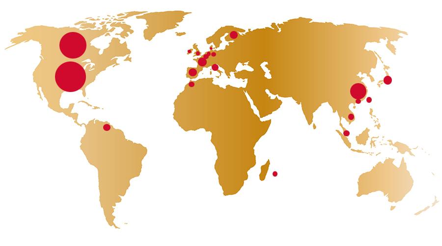 carte représentant la présence de la trinitaine dans le monde